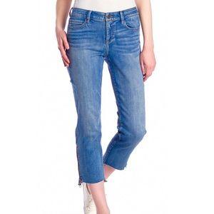 Skinny Girl Rail Straight Raw Hem Zipper Jeans